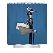 Sea Gull And Boat Mast Shower Curtain