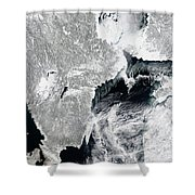 Sea Ice Lines The Coasts Of Sweden Shower Curtain