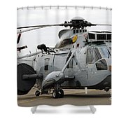 Sea King Helicopter Of The Royal Navy Shower Curtain