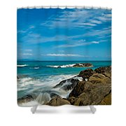 Sea Landscape With Beach Coast Rocks And Blue Sky Shower Curtain