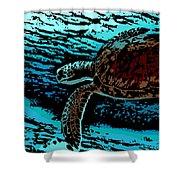 Sea Turtle Swimming Shower Curtain