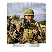 Seabees Carrying A 50-caliber Machine Shower Curtain