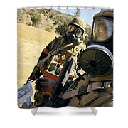 Seabees Conduct Decontamination Wash Shower Curtain