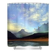 Seagulls Fly Near A Beautiful Island Shower Curtain by Corey Ford