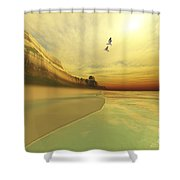 Seagulls Fly Near The Mountains Of This Shower Curtain by Corey Ford