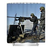 Seaman Fires A .50 Caliber Machine Gun Shower Curtain