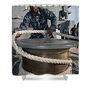 Seaman Runs A Mooring Line Shower Curtain