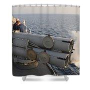 Seamen Fire An Air Slug From A Mk-32 Shower Curtain