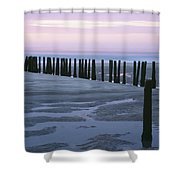 Seascape At Dusk With Pillars In Shower Curtain
