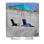 seashore 82 Beach Chairs Beach Umbrella and Tire Treads in Sand Shower Curtain