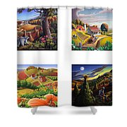 seasonal farm country folk art-set of 4 farms prints amricana American Americana print series Shower Curtain