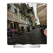 Seated In The Cafe Along The River In Lucerne In Switzerland Shower Curtain