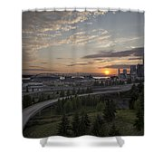 Seattle Arrival Sunset Shower Curtain