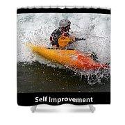 Self Improvement With Caption Shower Curtain