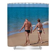 Senior Elderly  Lover Couple Shower Curtain