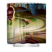 Sensing The Spheres Shower Curtain by Linda Sannuti