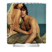 Sensual Portrait Of A Young Couple On The Beach Shower Curtain