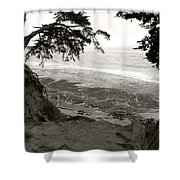 Sentinels View Of The Ocean Black And White Shower Curtain