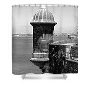 Sentry Tower Castillo San Felipe Del Morro Fortress San Juan Puerto Rico Black And White Shower Curtain by Shawn O'Brien
