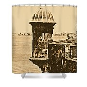 Sentry Tower Castillo San Felipe Del Morro Fortress San Juan Puerto Rico Rustic Shower Curtain by Shawn O'Brien