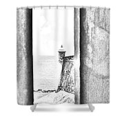 Sentry Tower View Castillo San Felipe Del Morro San Juan Puerto Rico Black And White Line Art Shower Curtain