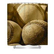 Sepia Baseballs Shower Curtain