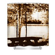 Sepia Picnic Table Lll Shower Curtain