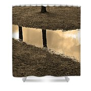 Sepia Silhouetted Reflections  Shower Curtain