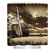 Sepia Sky Windmill Shower Curtain