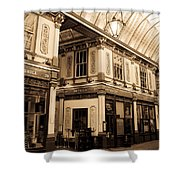 Sepia Toned Image Of Leadenhall Market London Shower Curtain