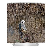 Serious Fisherman Shower Curtain