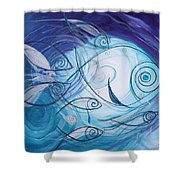 Seven Ichthus And A Heart Shower Curtain by J Vincent Scarpace
