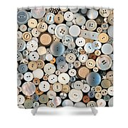 Sewing - Buttons - Lots Of White Buttons Shower Curtain
