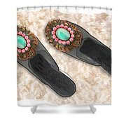 Sexy Slippers On Shag Shower Curtain