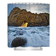 Shaft Of Sunlight Through Hole In Rock Shower Curtain by Robert Postma