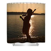 She Blows Bubbles Shower Curtain