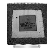 Shea Stadium Second Base Shower Curtain by Rob Hans