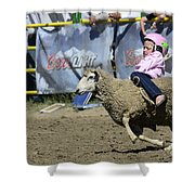 Rodeo Sheep Riding Shower Curtain