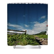 Shelter Cove Lighthouse Shower Curtain