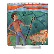 Shepherd Boy Detail Of Red Sky At Night Shower Curtain