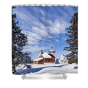 Sherwood Point Lighthouse And New Snow -  - D001650 Shower Curtain
