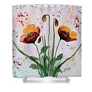 Shining Red Poppies Watercolor Painting Shower Curtain