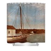 Ship At Dock Shower Curtain