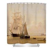 Ship Painting Shower Curtain by WF Settle