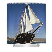 Ship Sailing Through The Galapagos Shower Curtain