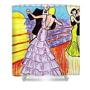 Shipboard Dancers Shower Curtain