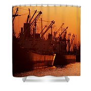 Shipping Freighters At Sunset Shower Curtain