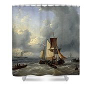 Shipping Off A Jetty Shower Curtain