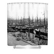 Ships In Harbour 1900 Shower Curtain