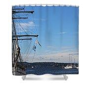 Ships In Oslo Harbor Shower Curtain